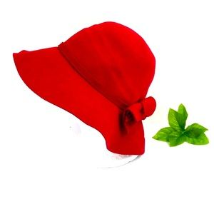Anthropologie red 100% wool floppy hat with bow OS